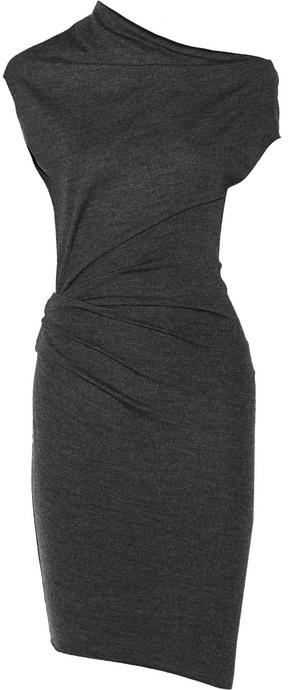 Helmut Lang Sonar asymmetric wool dress
