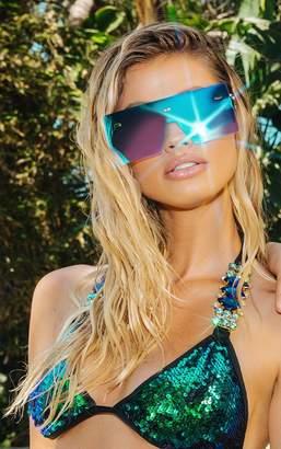 PrettyLittleThing Blue Frameless Square Sunglasses