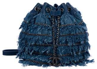 4e683015b845 Chanel Denim Fringe Bucket Bag