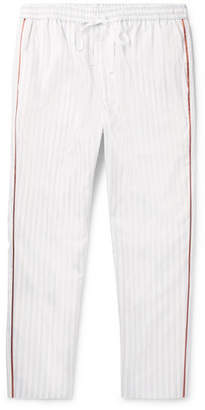 Gucci Tapered Satin-Trimmed Striped Cotton Drawstring Trousers