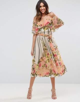 ASOS Stripe Floral Bardot Ruffle Midi Dress $92 thestylecure.com