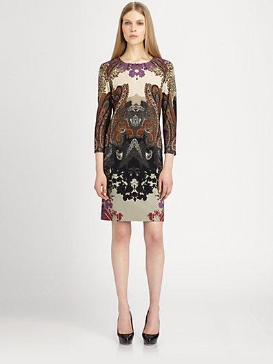 Etro Paisley-Print Stretch Knit Dress