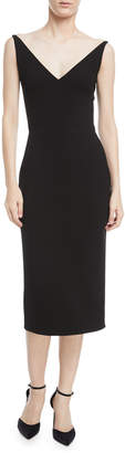 Oscar de la Renta Sleeveless Open-Back Sheath Dress