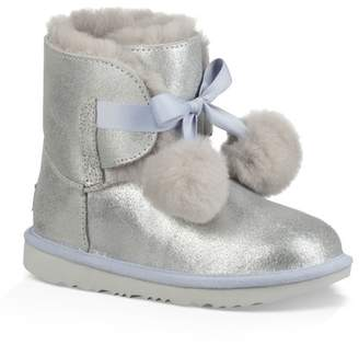 UGG Gita Metallic Genuine Shearling Pom Boot (Little Kid & Big Kid)
