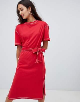 Bershka contrast stitch t shirt dress with tie