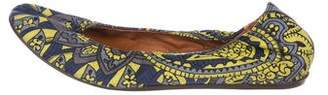 Lanvin Printed Round-Toe Ballet Flats