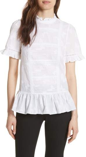 Kate Spade New York Clipped Butterfly Flounce Top