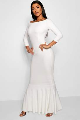 boohoo Boat Neck Fish Tail Wedding Dress