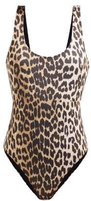 Ganni Leopard Print Swimsuit - Womens - Leopard