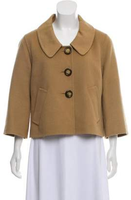 Michael Kors Wool and Angora Blended Crop Jacket Tan Wool and Angora Blended Crop Jacket