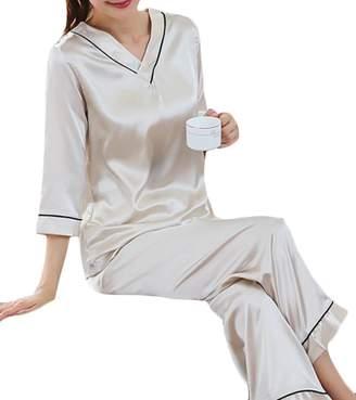 JSY Womens V-Neck Silk Satin Sleepwear 3 4 Sleeve 2 Piece Pajama Set 0787451af