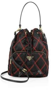 Prada Tessuto Impunturato Quilted Bucket Bag
