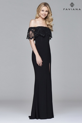 Faviana - s7937 Off the shoulder jersey with hanging lace top $338 thestylecure.com