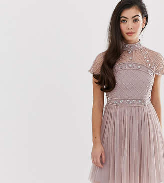 Asos DESIGN Petite mini dress with embellished crop top and tulle skirt