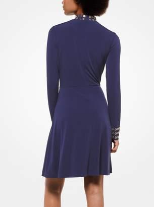 MICHAEL Michael Kors Grommeted Matte-Jersey Turtleneck Dress