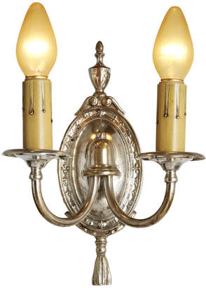Rejuvenation Silver Plated 2-Arm Candle Sconce w/ Urn Motif