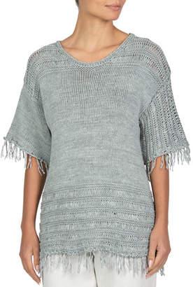 Eleventy Fringed-Trim Short-Sleeve Sweater