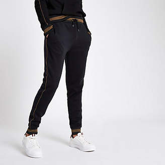 River Island Black slim fit tipped and piped joggers