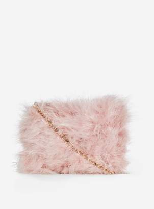 Dorothy Perkins Womens Blush Feather Chain Cross Body Bag