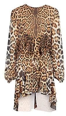 Saint Laurent Women's Leopard Print Silk Ruffle Dress