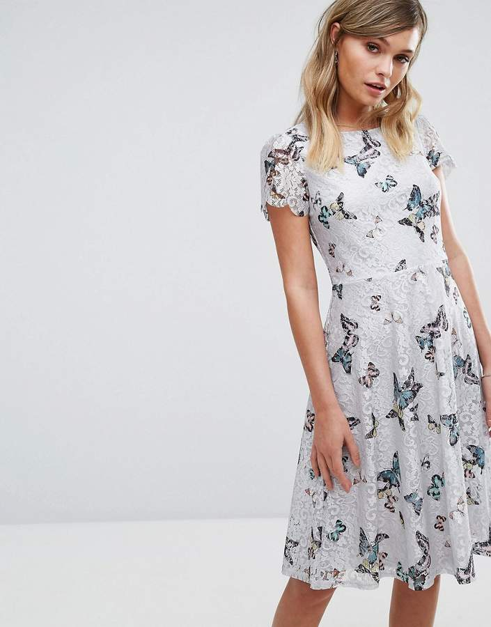 Oasis Butterfly Print Longer Line Lace Dress