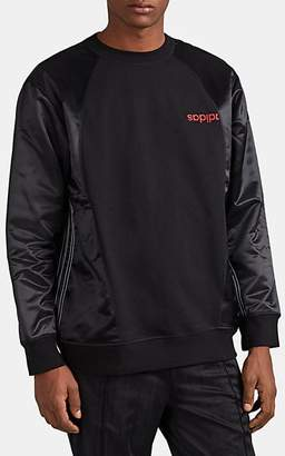 adidas by Alexander Wang Men's Striped Fleece & Satin Sweatshirt - Black