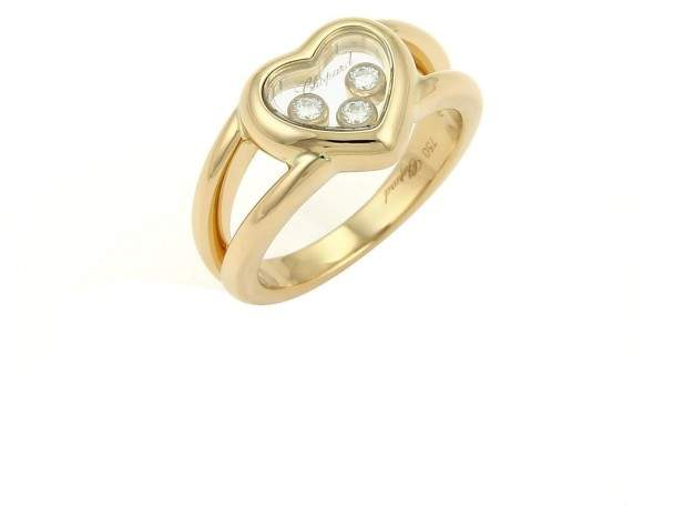 ChopardChopard Happy Diamond 18K Yellow Gold with 0.17ct Diamond Heart Ring Size 5.5