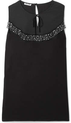 Miu Miu Embellished Lace And Tulle-trimmed Crepe De Chine Blouse - Black