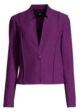 St. John Women's Ana Bouclé Knit Notch Collar Blazer - Purple - Size 6