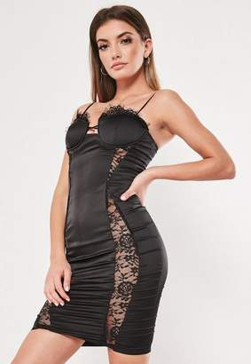 5a50e652006 Missguided Black Satin Lace Bust Cup Bodycon Mini Dress