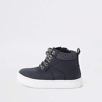 River Island Mini boys navy lace-up boots