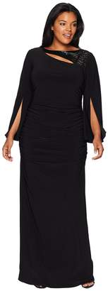 Adrianna Papell Plus Size Long Sleeve Stretch Jersey Gown with Slit Sleeve and Beaded Neckline Detail Women's Dress