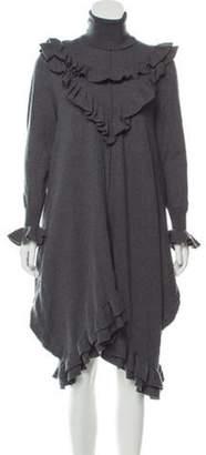 Stella McCartney Ruffle-Trimmed Wool Dress Grey Ruffle-Trimmed Wool Dress