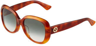 Gucci Universal-Fit Acetate Butterfly Sunglasses