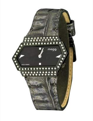 Swarovski Moog Paris Broken Women's Watch with Dial, Gray Genuine Leather Strap & Elements - M45082-002
