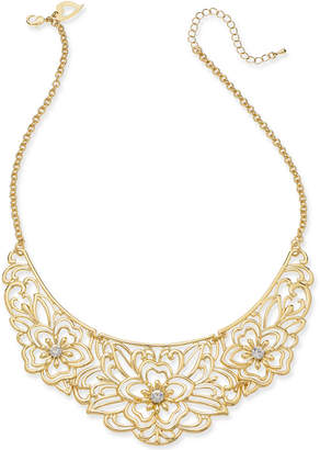 "Thalia Sodi Gold-Tone Crystal Flower Filigree 10-1/2"" Statement Necklace, Created for Macy's"