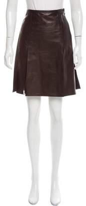Reed Krakoff Pleated Leather Skirt