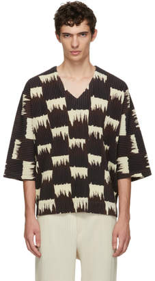 Issey Miyake Homme Plisse Brown and White Wild Check T-Shirt