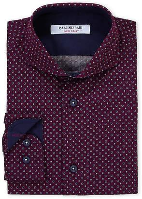 Isaac Mizrahi Boys 8-20) Burgundy Dot Pattern Dress Shirt