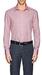 Piattelli MEN'S SLUB-WEAVE LINEN-COTTON SHIRT-RED SIZE L