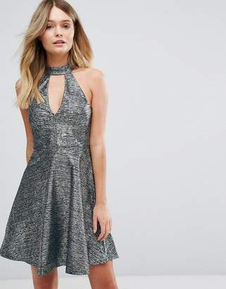 Lipsy Metallic Skater Dress With Keyhole Neck