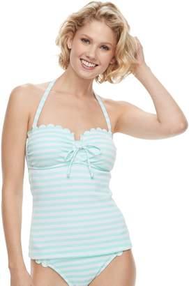 Couture Women's Aqua Bust Enhancer Striped Bandeukini Top