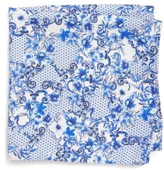 Eton Floral Tile Silk Pocket Square