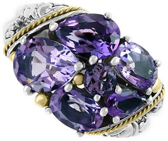 Effy Amethyst Cluster Ring (5-3/8 ct. t.w.) in Sterling Silver & 18k Gold
