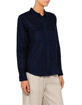 David Jones Micro Spot Linen Shirt