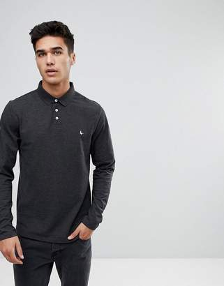 Jack Wills Staplecross Long Sleeve Polo in Gray
