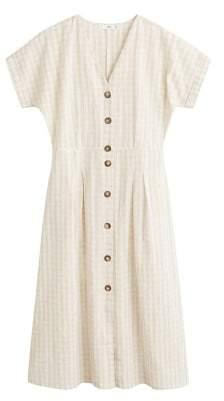 MANGO Checked linen dress