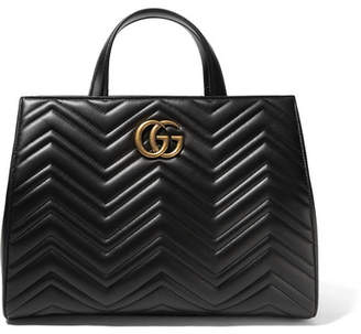 Gucci Gg Marmont Medium Quilted Leather Tote - Black