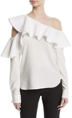 Oscar de la Renta Long-Sleeve One-Shoulder Ruffle Silk Blouse