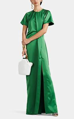 Cédric Charlier Women's Satin High-Slit Gown - Green